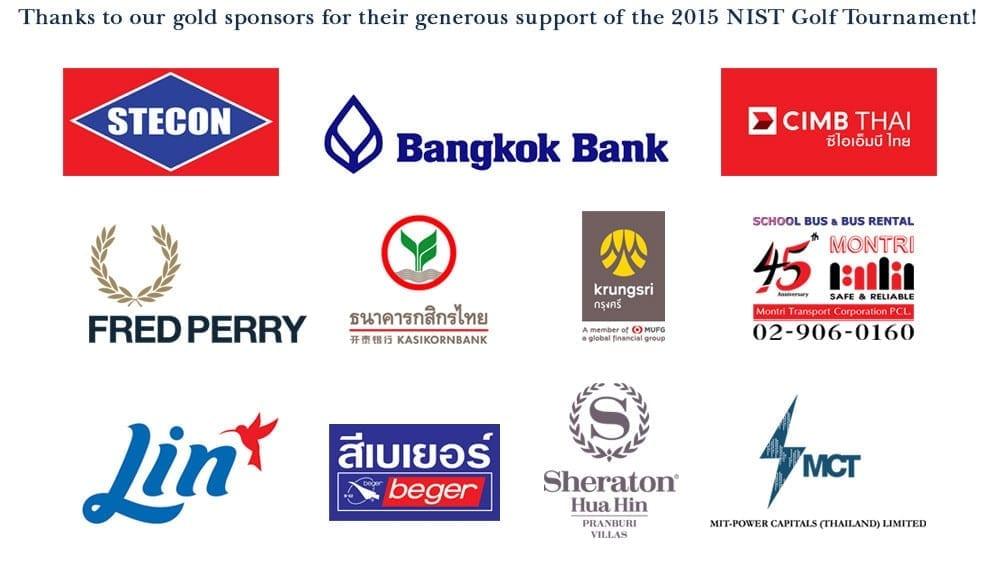 NIST 2015 Golf Tournament Gold Sponsors