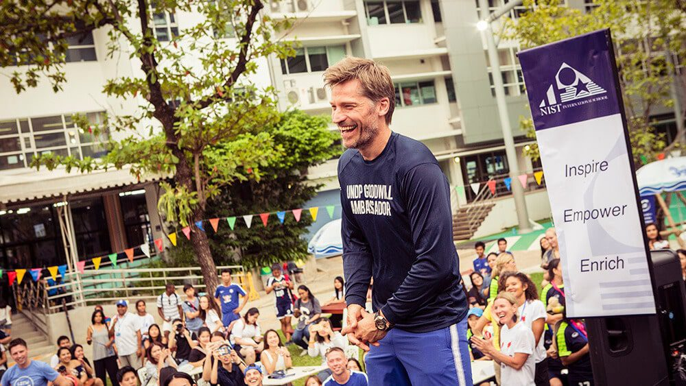 Nikolaj Coster-Waldau (Jamie Lannister on Game of Thrones) at NIST International School Bangkok