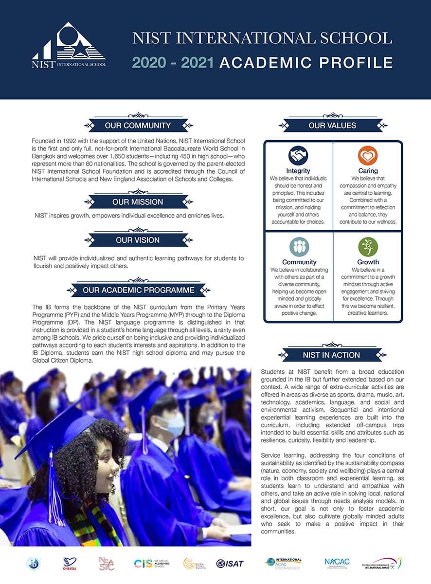 NIST International School Bangkok - 2020-2021 Academic Profile